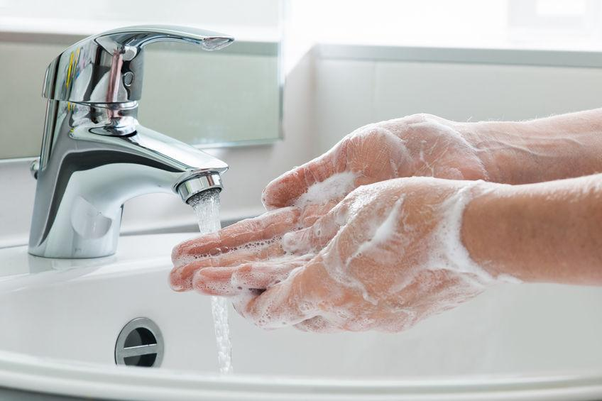 Picture showing a person Washing Hands with Soap.